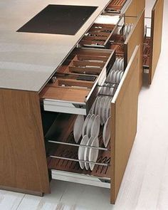 Large storage capacity for these kitchen drawers - Interior - . - Large storage capacity for these kitchen drawers – Interior – one # kitc - Diy Kitchen Storage, Kitchen Drawers, Kitchen Sets, Home Decor Kitchen, Interior Design Kitchen, Kitchen Organization, New Kitchen, Home Kitchens, Organization Ideas