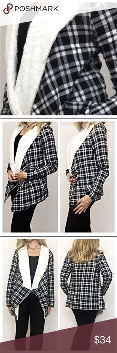 """✨SALE Faux Shearling Plaid Jacket Cardi Medium Enjoy a nice twist to your plaid this season in this absolutely adorable fur lined Draped Cardigan wrap. Cardi is lined with butter soft faux shearling throughout the bodice & collar (arms are not lined). Nice flowy fit to pair with leggings or jeans. Be on trend, cozy, cute & comfy❤️️❤️️Black Ivory   Medium 6/8 Bust 36-38 Long length 29.5"""" Short length 26"""" Jackets & Coats"""