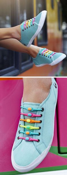 Alternative Shoelace that doesn't come untied. Faster & more Comfortable. Plenty of Color Options. Lace Up & Never Tie Your Shoes Again // #brilliant #hickies
