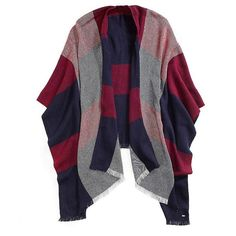 Tommy Hilfiger Plaid Cape ($40) ❤ liked on Polyvore featuring outerwear, tartan cape, cape coat, plaid capes, plaid cape coat and blue cape coat