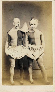 ca. 1875, [carte de visite portrait of two clowns or acrobats in costume], Rom Photographic Studio  via Ebay