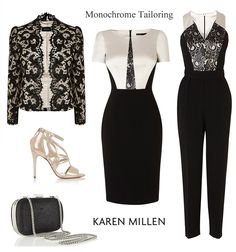 Karen Millen monochrome party wear, evening trousers and lace jumpsuits, black and white satin top pencil dress, lace jacket and occasion shoes and bags.
