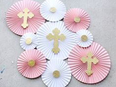 Baptism Decorations – Christening Decor – First Communion – Girl Baptism – Baptism Party – Paper Rosettes – Paper Fans – Paper Pinwheels - Shopkins Party Ideas First Communion Decorations, Christening Decorations, First Communion Party, Baptism Centerpieces, First Holy Communion, Communion Favors, Birthday Diy, Birthday Parties, Cake Birthday