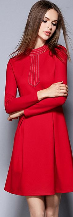 I like some pops of red: Warming Red Pleated A-line Dress