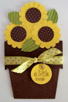 Paper craft sunflowers www kaitysmom jalbum net Cricut Cards, Stampin Up Cards, Sunflower Cards, Sunflower Flower, Tarjetas Diy, Shaped Cards, Mothers Day Cards, Fall Cards, Creative Cards
