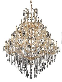 Elegant Lighting 2801G46G Maria Theresa 49-Light Four-Tier Crystal Chandelier Swarovski Elements Clear Crystal Indoor Lighting Chandeliers