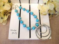 Turquoise Necklace Magnesite Necklace Long Necklace Long