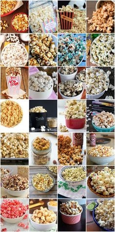 Buttered Popcorn is so boring. Try out one of these 101 Creative Popcorn Toppings on your next movie night. Popcorn Bar, Popcorn Toppings, Popcorn Seasoning, Popcorn Snacks, Flavored Popcorn, Gourmet Popcorn, Butter Popcorn, Popcorn Recipes, Snack Recipes