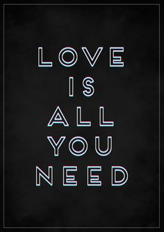 LOVE IS ALL YOU NEED » Tipografia - Urban Arts - (papel matte, 36 x 47,5 - sem moldura) - R$ 99