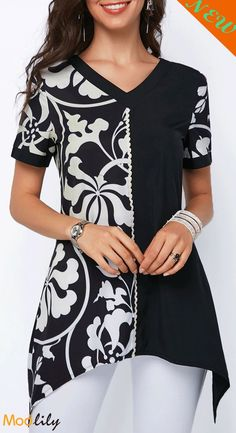 $27.55, new arrive, free shipping, casual, printed, v neck, asymmetric hem, coloring, long. Restock it now!