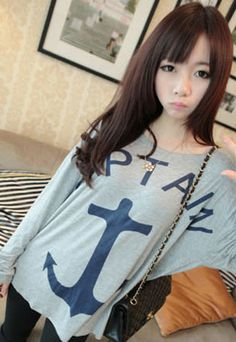 Price:17 USD Color:white/grey/black Loose Fitting Anchor CAPTAIN Print Leisure Sweatshirt
