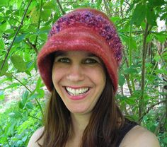 Handknit Felted Red Hat With Novelty Yarn
