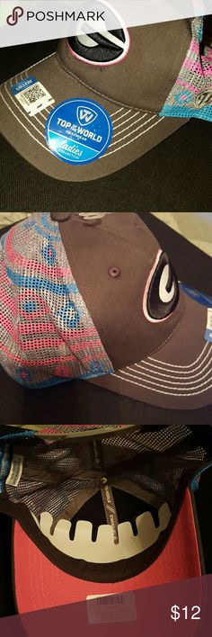 Brand new! UGA hat! New with Tags! University of Georgia, womens baseball hat, dark gray, pink, & blue colors, mesh back, adjustable, perfect unworn condition! Top of the World Accessories Hats