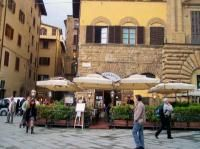 One of Florence's best outdoor cafes, Rivoire is in the Piazza della Signoria. We spent a memorable sunny, late winter afternoon here, eating to our hearts' content and regaled by strolling musicians. My husband was beguiled by the beautiful, young blonde Italiana at the next table who obviously wasn't wearing any panties. Surprisingly, her boyfriend didn't mind her, um, showing off her wares.