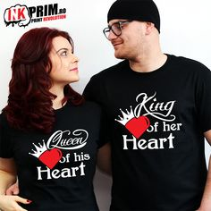 Set Tricouri Personalizate, King Of Her Heart & Queen of His Heart