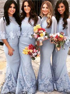 Buy Mermaid Bridesmaid Dress - Light Blue Bateau Floor-length Appliques 2016 Bridesmaid Dresses under US$ 100.99 only in SimpleDress.