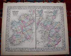 #antique Ireland and Scotland Rare Original Antique 1870 Mitchell's Atlas Map please retweet