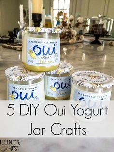 DIY rain chain tutorial, easy and inexpensive oui yogurt jar crafts. This rain chain makes a rainy day beautiful! I love eating Oui yogurt and saving the precious little jars to decorate with for easy and cheap DIY decor Crafts With Glass Jars, Small Glass Jars, Mason Jar Crafts, Mason Jar Diy, Jelly Jar Crafts, Upcycled Crafts, Easy Diy Crafts, Cup Crafts, Bottle Crafts