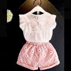 d27504c55304 Beautiful stylish outfit for your girl! Set includes  sleeveless white top    floral shorts Fabric  cotton Size  length
