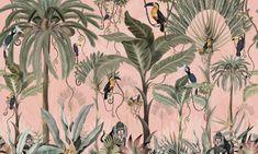 Unique Wallpaper, More Wallpaper, Wallpaper Samples, Perfect Wallpaper, Custom Wallpaper, Wall Wallpaper, Wallpaper Paste, Pink Jungle Wallpaper, Next Wall Art