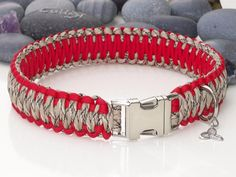 Red and Desert Camo Wide Paracord Dog Collar