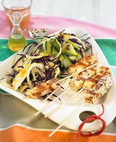 Halloumi skewers with crunchy salad