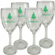 """Holiday Personalized Wine Glasses . $25.00. Shipping Varies with Order Quantity. Clear Glass Only. 6 1/2"""" High, Holds 8.5 oz.. Set of 4, $25.00. Personalize yours now!. Holiday Personalized Wine Glasses. Perfect for holiday parties and holiday gift giving."""