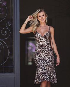 Animal Print Dress Outfits, Animal Print Fashion, Animal Prints, Look Fashion, Skirt Fashion, Fashion Dresses, Party Dresses For Women, Cute Dresses, Lace Dress Styles