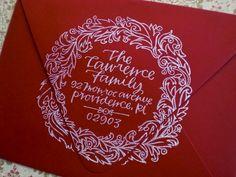 Order your Holiday Calligraphy Stamp Custom Return Address Stamp, Wedding Paper, Red Wedding, Wedding Ideas, Wedding Card, Art And Craft, Addressing Envelopes, Card Envelopes, Pen And Paper