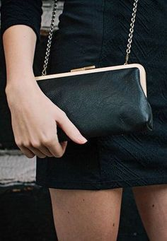 Leather Clutch / Black Clutch Purse