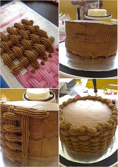 Wilton Method Basketweave cake by pigpigscorner, via Flickr