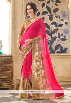 Adorable Pink And Beige Color Georgette And Net Party Wear Saree