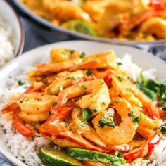 Coconut Shrimp Curry {Served Over Rice or Pasta!} - Spend With Pennies Naan, Seafood Curry Recipe, Curry Shrimp, Curry Pasta, Coconut Curry Sauce, Coconut Shrimp, Coconut Milk, Veggie Fries, Veggie Stir Fry