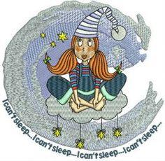 I can't sleep machine embroidery design. Machine embroidery design. www.embroideres.com