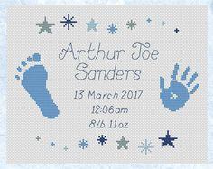 Custom cross stitch birth announcement cute by ClimbingGoatDesigns