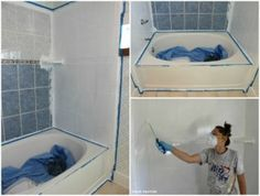 How To Refinish Outdated Tile Yes I Painted My Shower Pinterest - Painting bathroom tile and tub