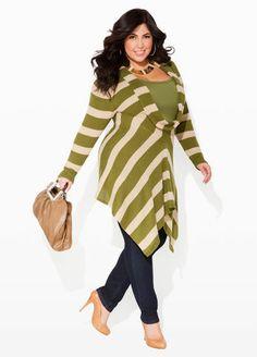 Ashley Stewart Cowl Neck Hi-Lo Sweater, Signature Basic Tank and Skinny Five Pocket Denim