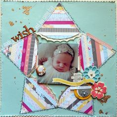 I Made a Wish and You Came True - by Paige Evans using products from American Crafts. Love the star! Baby Scrapbook Pages, Scrapbook Sketches, Scrapbook Page Layouts, Scrapbook Paper Crafts, Scrapbook Supplies, Scrapbook Cards, Scrapbooking Ideas, Cute Scrapbooks, Family Birthdays