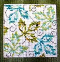 Falling Leaves counted cross stitch - www.dmc-usa.com  (hmm, keep the green, swap red and yellow for blue and teal)