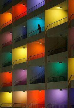 Rainbow of color at the Hard Rock Hotel, Pattaya, Thailand Facade Lighting, Lighting Design, Exterior Lighting, Le Corbusier, Interior Exterior, Interior Design, Light Art, Interior Architecture, Colour Architecture