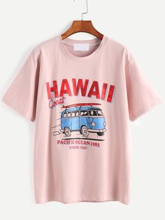 #AdoreWe SheIn T-Shirts - SheIn Pink Letter And Cartoon Print T-shirt - AdoreWe.com