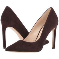 Nine West Tatiana (Dark Brown Suede 1) High Heels (£60) ❤ liked on Polyvore featuring shoes, pumps, nine west pumps, high heel shoes, pointed toe shoes, high heel pumps and suede pointed toe pumps