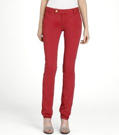 A super skinny denim silhouette in washed red is a must have <3