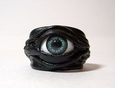 Evil eye adjustable black leather ring by LeasBoutique on Etsy, $14.00