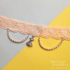 Little Dress Peachy Pink Lace Elastic Choker by fairymistjewellery Sweet cute pastel handmade jewellery.