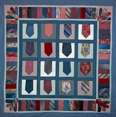 Necktie Quilt Pattern for Quilted Wall Hanging by anitabradshaw