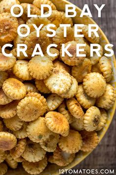 Old Bay Baked Oyster Crackers Turn the ever-wonderful oyster cracker into something buttery and even more crunch and flavorful. Snack Mix Recipes, Recipes Appetizers And Snacks, Finger Food Appetizers, Yummy Appetizers, Yummy Snacks, Cooking Recipes, Yummy Food, Healthy Food, Finger Foods