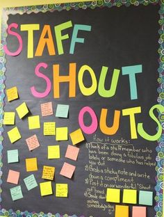 Teacher wellbeing is important too! Staff Shout Outs - morale boosters for teachers. Painted Bulletin Boards, Staff Bulletin Boards, Back To School Bulletin Boards, Notice Board Decoration, Staff Appreciation Gifts, School Tool, School Office, Thank You Gifts, Office Inspo