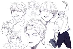 Taehyung fanart- not mine Fanart Bts, Taehyung Fanart, Bts Taehyung, Kpop Anime, Anime Guys, Kpop Drawings, Easy Doodles Drawings, Simple Doodles, Tattoo Drawings