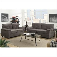 Lowest price online on all Poundex Bobkona Fullerton Sofa and Loveseat Set in Charcoal - F7585